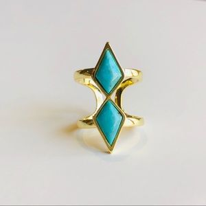 Jewelry - Natural Turquoise & 18k Gold Double Band Ring